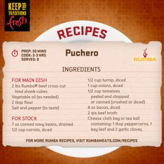 Quick and easy, this beef recipe is a real crowd pleaser. Make it for a busy night at the house, or on a weekend to keep your family or friends smiling.   http://www.rumbameats.com/recipe/beef/puchero
