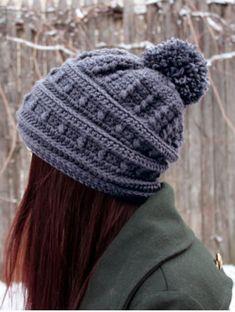 f99ecbe6a14 Crochet Hat Pattern Slouchy Hat Pattern Womens Beanie Pom Pom Winter Puff  Stitch Textured PDF Tutorial Download Slouch Cute Comfy Teen