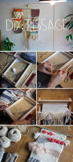 DIY: Woven Wall Hanging Tutorial – – telar decorativo – – ed mckee 506 – weberei Weaving Wall Hanging, Weaving Art, Weaving Patterns, Tapestry Weaving, Loom Weaving, Diy Hanging, Wall Hangings, Yarn Crafts, Diy Crafts