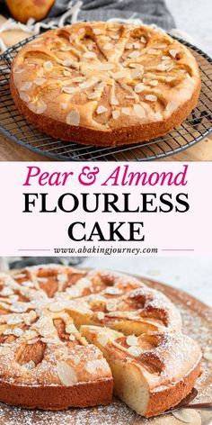 This Easy Pear Cake Recipe is made with No Flour, making it a delicious gluten-free pear cake. Fresh Pear Recipes, Pear Recipes Healthy, Pear Dessert Recipes, Easy Cake Recipes, Apple Recipes, Baking Recipes, Sweet Recipes, Gluten Free Almond Cake, Gluten Free Baking