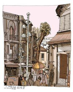"_watercolor_акварель_nahalat binyamin, Tel Aviv :: sketched on location as part of my "" views from coffe shops"" illustrations. By daphnavi (Avi A. Landscape Illustration, Illustration Art, Urban Sketchers, Environment Design, Mail Art, Urban Landscape, Art Sketchbook, Urban Art, Illustrations Posters"