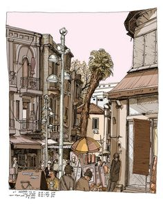 "nahalat binyamin, Tel Aviv :: sketched on location as part of my "" views from coffe shops"" illustrations. By daphnavi (Avi A. Katz)"