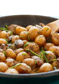 Roasted Baby Potatoes in a Homemade Mushroom Sauce #potatoes