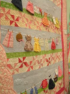 Laundry Day Quilt - this would be a fun way to re-use and upcycle hand made dolls clothes