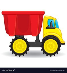 Dump truck toy vector image on VectorStock Monster Truck Kids, Girl Holding Balloons, Pink Wheels, Construction Signs, Pink Truck, Cars Characters, Christmas Car, Transportation Theme, Kids Vector