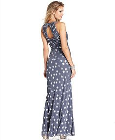 Adrianna Papell Dress, Sleeveless Pleated Beaded Metallic-Dot Gown - Womens Dresses - Macy's