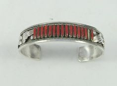 Signed Zuni Coral Needlepoint Sterling Silver Bracelet Cuff- as it is by Framarines on Etsy