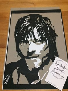 Paper portrait of Daryl Dixon played by Norman Reedus in The Walking Dead  Contact Mrs Scuffer for custom papercuts