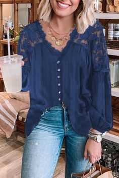 Steel everybody gazes in our lace blouse! This long sleeve blouse features a heavenly touch of crochet lace details in the upper body and sleeves of this blouse. Pair it with vintage denim and heals for date night with your loved one or wedding Vintage Denim, Upper Body, Crochet Lace, Heavenly, Lace Detail, Blouses, Touch, Steel, Navy
