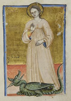 Margaret of Antioch finally finds a dragon she can subdue with a stern glare - Book of hours (MS M.3).  Italy, perhaps Lombardy or Romagna, late 14th to early 15th century.