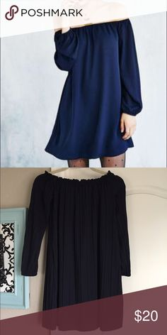 Off The Shoulder Swing Dress - NWT Brand New with Tags.  Super flattering dress.  The color is Navy Blue.  Flows nicely and is off the shoulder.  It can be dressed up with jewelry and boots or a perfect spring dress with sandals. One Clothing Los Angeles Dresses