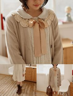 Inspirations from Mori Girl - doily collar tied with bow - layered under a pan collar