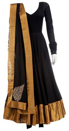 ANAMIKA KHANNA Black silk Anarkali with gold border and churidar