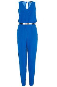Blue Crepe Jumpsuit