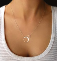 Infinity Necklace - Interlocking Hoop Necklace Gold or Silver - Small Double Circle Necklace - Linked Eternity Necklace - Gift Necklace on Etsy, $34.00