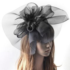 Black Fascinator Large Hair Clip Feather Bridal Women Hat Race Party Cocktail #Handmade #hairclip