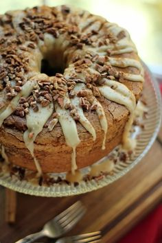 pumpkin streusel swirled cream cheese pound cake