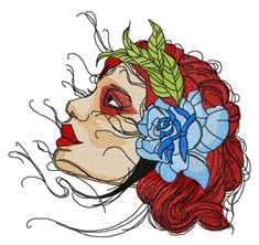 Red-haired girl machine embroidery design #girl #head #rose #leaves #face #blossom #beige #passion #redhaired #embroidery Machine Embroidery Applique, Flower Embroidery, Embroidery Patterns, Hand Embroidery, Celtic Tree, Rose Leaves, Design Girl, Satin Stitch, Embroidery Techniques