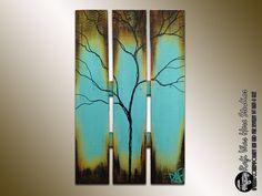 Summer Large Abstract Tree on Reclaimed Wood Single Season - Summer Tree Painting - Seasons of Change By Rafi on Etsy, $135.00