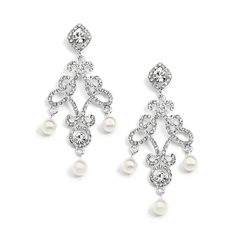 Vintage Inspired Pearl Chandelier Wedding Earrings - Affordable Elegance Bridal -