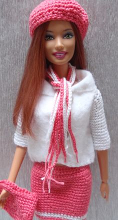 Crochet Barbie Clothes, Doll Clothes Barbie, Barbie Dress, Barbie Doll, Barbie Knitting Patterns, Doll Clothes Patterns, Barbie Hairstyle, Monster High Doll Clothes, Knitted Dolls