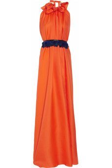 The tangerine color and feather belt of this silk-organza gown by Roksanda Ilincic makes me long for a fancy occasion to wear it. So pretty! @net-a-porter