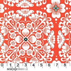 Michael Miller Fabric, Wallflower Waltz Collection, Pippa in Clementine, 1 Yard