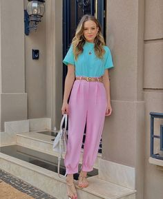Casual Day Dresses, Classy Outfits, Casual Outfits, Cute Outfits, Vintage Outfits, Pastel Fashion, Colorful Fashion, Look Fashion, Girl Fashion