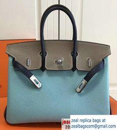 816c9cfbbb Hermes Mini Birkin 25cm Bag in Original Togo Leather Bag Light Blue Gray  Luxury Bags