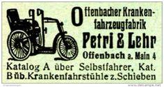 Original-Werbung/ Anzeige 1920 - OFFENBACHER KRANKENFAHRZEUGFABRIK / PETRI &…