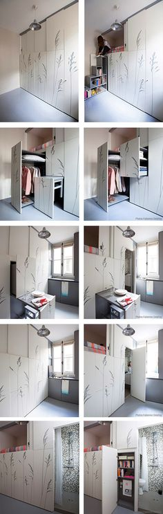 """Some tiny apartments take great pains to seem less like tiny apartments. Not so with this one. In this one, which measures only 86 square feet, you sleep in a cupboard.  According to Design Boom, Kitoko Studio's work on a """"maid's room"""" in Paris was based on the """"concept of the Swiss Army Knife,"""" with stairs, a closet, even a small dining table hidden behind panels embossed with a sparse floral design."""