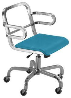 #Poltrona a rotelle nine-o di emeco blu  ad Euro 1540.00 in #Emeco #Arredamento sedie ufficio