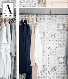 Before & After: Painting an Outdated Fake Wood Wardrobe | An open closet is something you should like too look at. If you don't have the luxury of doors, it's a great thing to have clean storage option and sleek organization alternatives. A quick painted makeover can do just that.