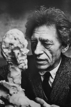 Portrait de Giacometti, h.c.b. henri cartier bresson (he looks a bit like his sculptures!)