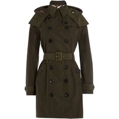 Burberry Brit Waterproof Trench Coat (10 915 ZAR) ❤ liked on Polyvore featuring outerwear, coats, green, slim trench coat, double breasted trench coat, green coat, brown trench coat and trench coat