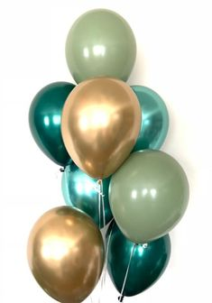 Sage and Eucalyptus Balloons Happy Balloons, Gold Balloons, Wedding Balloons, Green Party Decorations, Blue Party Themes, Wedding Decorations, Baby Shower Decorations For Boys, Green Bridal Showers, Gold Baby Showers
