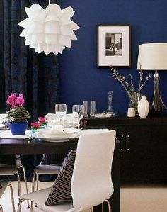 Navy accent wall, DeFINE Design likes working with blues!!! Love this color