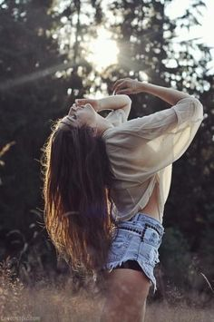 #Beautiful photography# free in nature photography hair girl nature field brunette jean shorts sunlight trees
