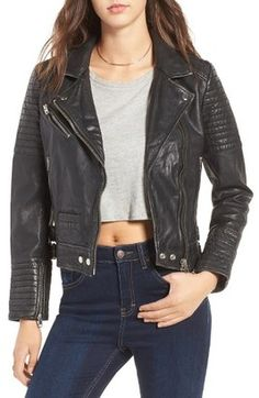 Shop Now - >  https://api.shopstyle.com/action/apiVisitRetailer?id=611389942&pid=uid6996-25233114-59 Women's Topshop Elton Quilted Leather Jacket  ...