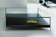 mesa de centro aÏda 60 - mesa cristal transparente y madera