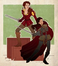 Once Upon A Time - Warrior Belle and Mulan by ~ThatMadGray on deviantART
