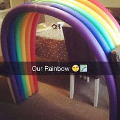 Rainbow made from pool noodles for our promise ceremonies. Going to make some weighted clouds for the bottom