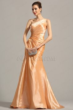 One Shoulder Pleated Orange Evening Dress Formal Dress (02154410) 2db2f0e2a