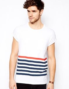 ASOS Stripe T-Shirt With Pocket And Roll Sleeve