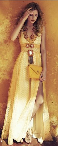 Tory Burch. I usually dislike yellow but this outfit looks great!