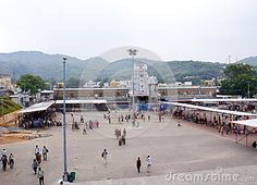 The panoramic view of the grand premises of Tirupati Balaji Temple, at Tirumala shot from a higher ground.