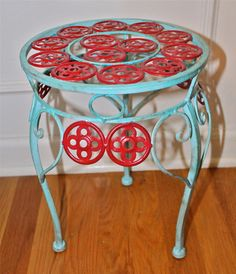 Aqua & Red Plant Stand by AquaXpressions on Etsy, $25.00