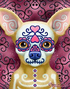 A chihuahua dog wearing a pink and blue Dia de los Muertos mask with a curvy lattice of skulls and hearts in the background. Genre : Day of the Dead / Dia de los Muertos / Sugar Skull