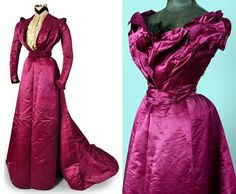Afternoon or evening dress, Craignac, Toulouse-Paris, 1900. Cerise silk satin and velvet. Evening bodice is sleeveless satin; day bodice is satin and velvet with long sleeves with inset of embroidered cream satin and tulle. Skirt with train. Druout Auctions via Oli Aklod Venitiens
