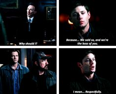 """[gifset] Don't get sassy with Death, Dean... 7x01 Meet the New Boss I love Sam and Bobby's faces """"dean what are you doing??"""""""